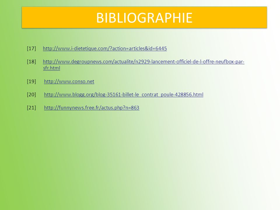 BIBLIOGRAPHIE [17] http://www.i-dietetique.com/ action=articles&id=6445.